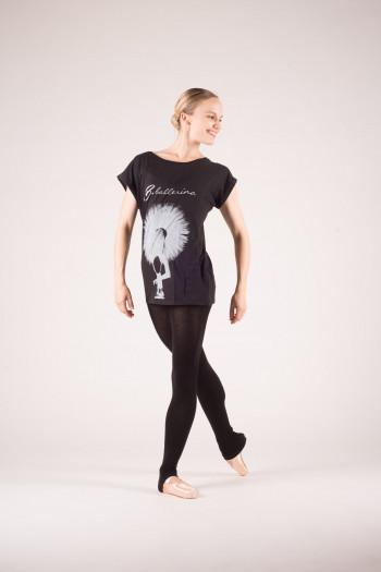 T shirt danseuse noir blanc