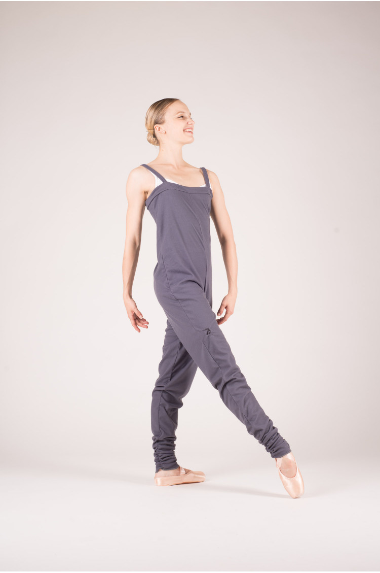 Degas grey fleece camisole unitard