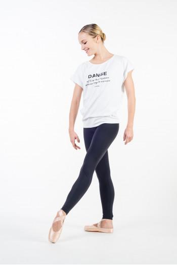 T shirt danse temps danse femme blanc