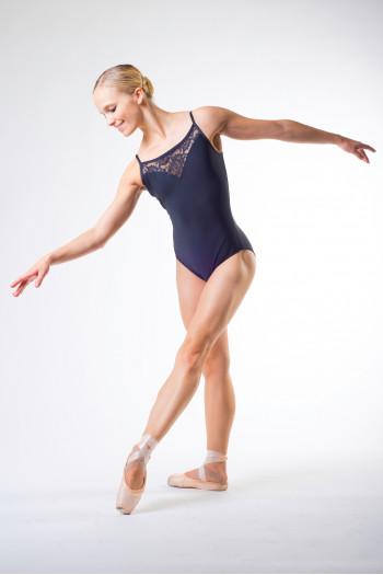 Justaucorps de danse ballet rosa fines bretelles noir