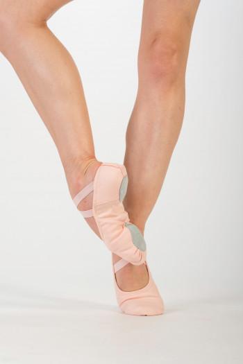Demi-pointes Dansez-Vous bi-semelles toile élastiquée rose Vanie