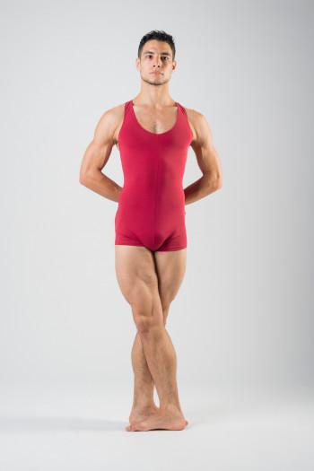 Ballet Rosa burgundy short unitard Patrick