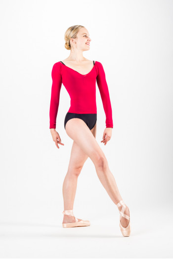 Top collant de danse Repetto Groseille