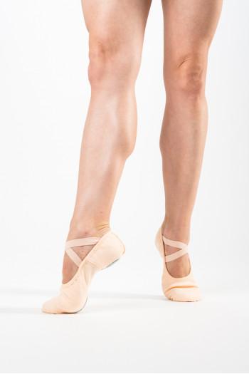 Demi-pointes Dansez-Vous bi-semelles toile élastiquée Vanie saumon