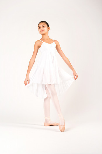 MDA white girl dress leotard close front