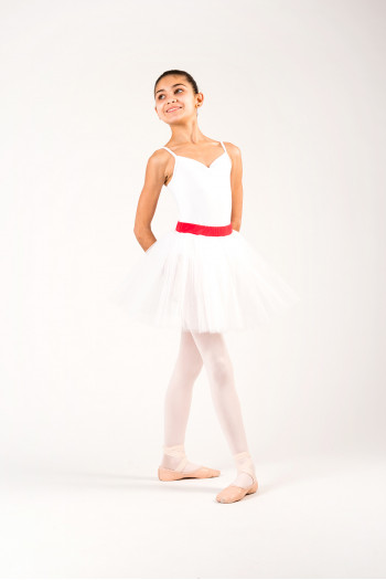 Sheddo white tutu skirt for child red belt