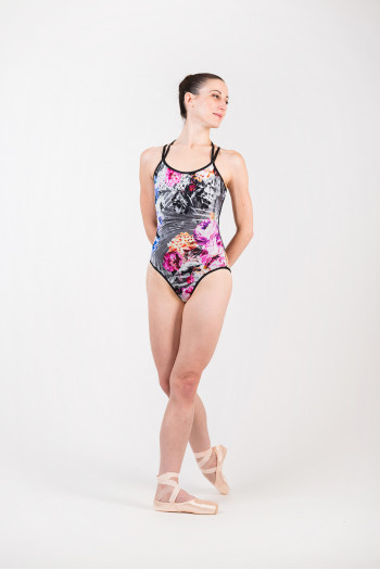 Bloch Cadence L1847 limited edition black/flower leotard