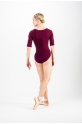 Temps Danse Burgundy Maddy half sleeves leotard