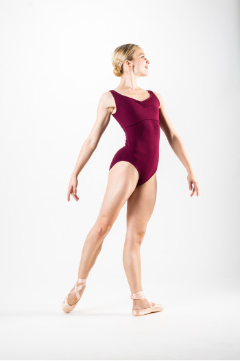 Temps Danse Maraca burgundy large straps leotard