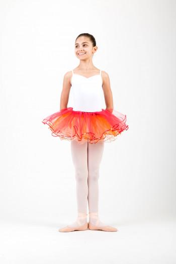 Bas de tutu enfant Sansha Celine orange et rouge
