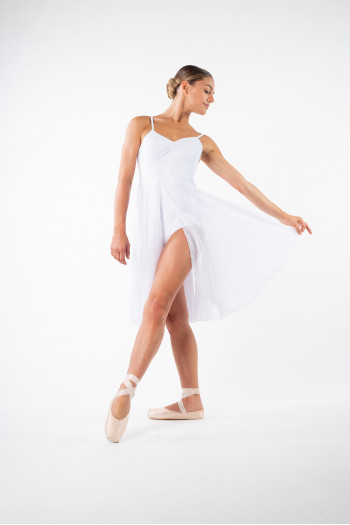 MDA white women dress leotard open front