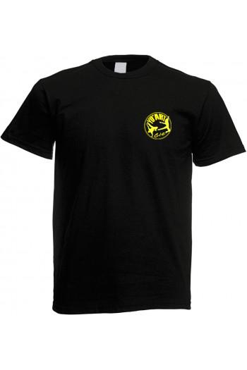 Tee-shirt homme flocage coeur et dos jaune fluo YoArt