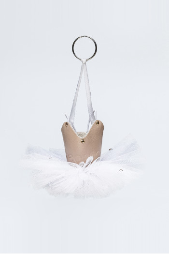 Wear Moi keyring tulle white and leather salmon with glitter
