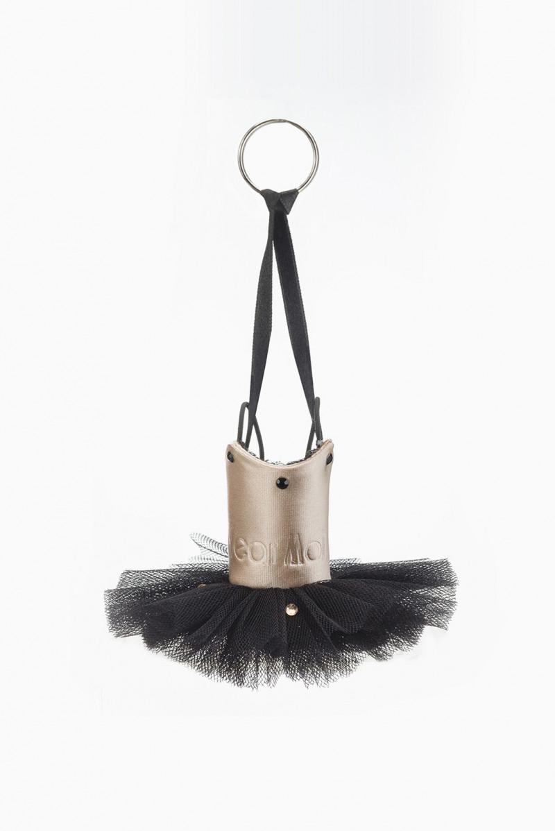 Porte-clés tutu Wear Moi tulle black et cuir salmon avec strass