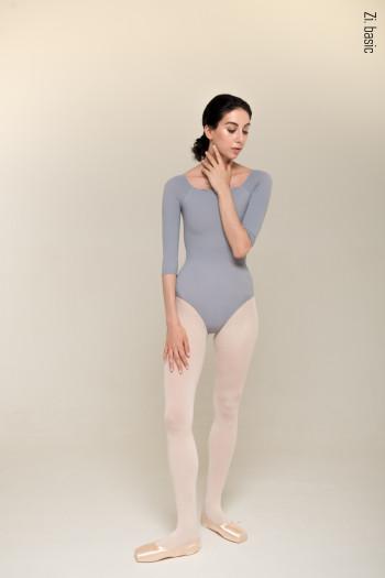 Leotard grey semi-long sleeves Zi Dancewear