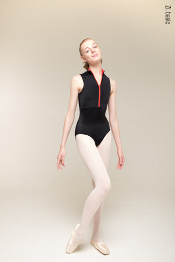 Zip leotard (black )