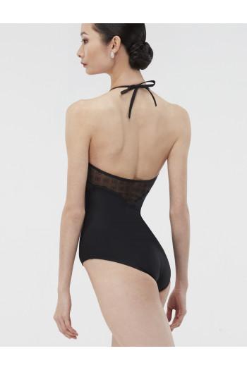 Justaucorps Wear Moi noir dos nu avec empiècement motifs transparents