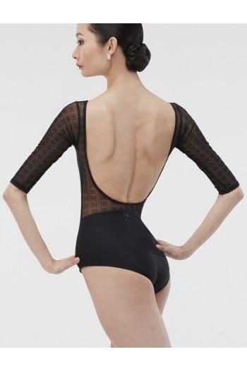Justaucorps Wear Moi noir manches 3/4 motifs transparents Edition limitée