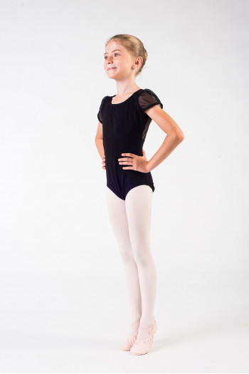 Leotard child Capezio sleeves tulle 11311C black