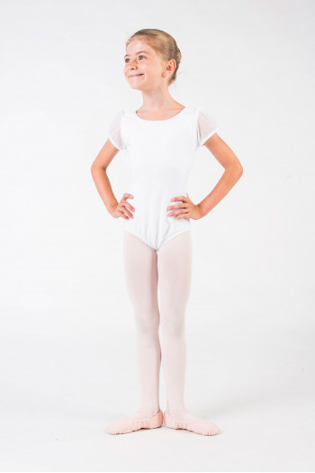 Justaucorps enfant Capezio manches tulle 11311C white