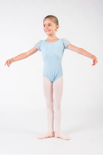 Leotard child Capezio sleeves tulle 11311C lifht blue