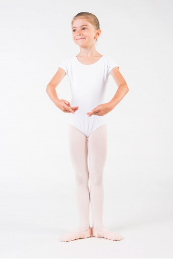 Capezio short sleeves white leotard