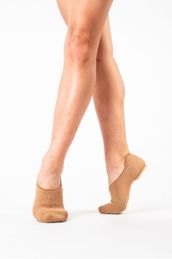 Chaussure de jazz Capezio en maille stretch tan