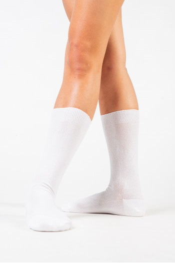 White cotton boys mid-calf socks