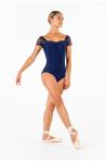 Ballet Rosa Justine black lace leotard navy