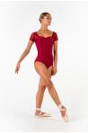 Ballet Rosa Justine black lace leotard burgundy