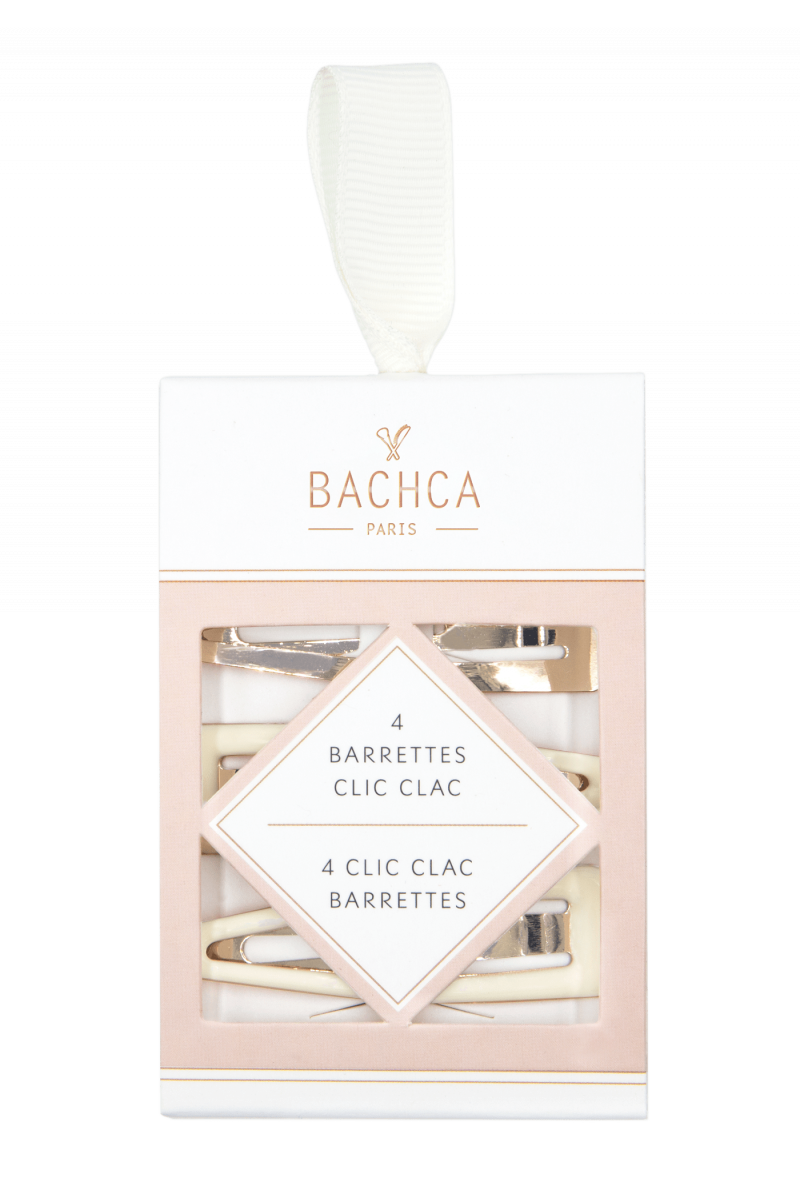 Barrettes clic clac Bachca doré et ivoire