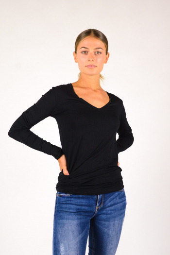 V-neck T-shirt Majestic Filiatures black M001-FTS010