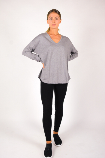 V-neck T-shirt Majestic Filiatures grey