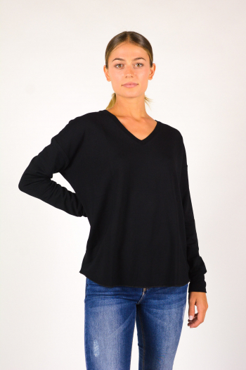V-neck T-shirt Majestic Filiatures black