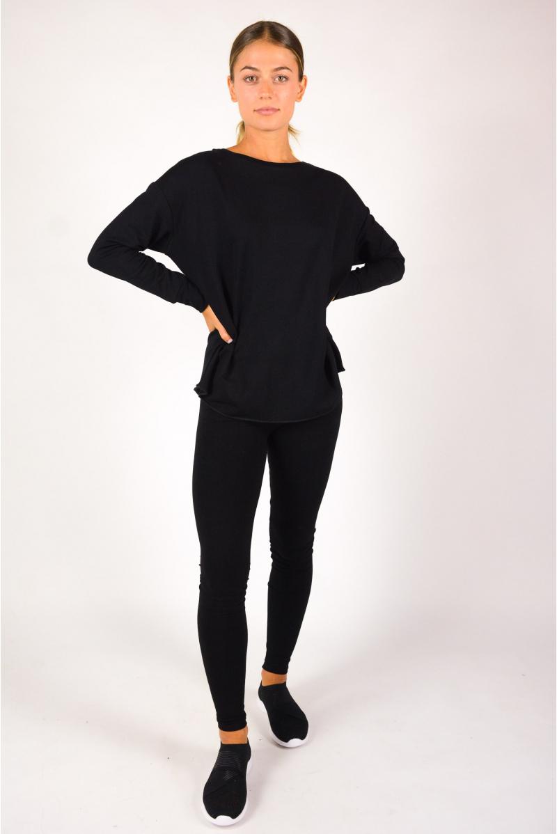 T-shirt boat neck Majestic Filiatures black