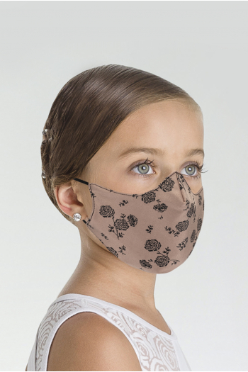 Wear Moi MASK025 mask with black/toast child print