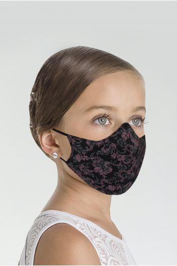 Masque Wear Moi imprimé enfant black/raspberry