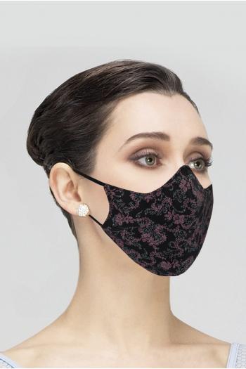 Mask Wear Moi MASK029 printed woman black/raspberry