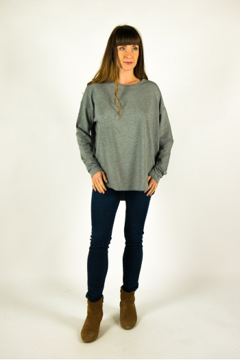 T-shirt round neck Majestic Filiatures grey