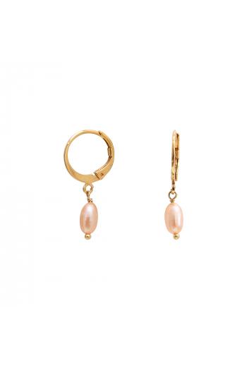 Mini creoles Clea pink pearl Nilaï