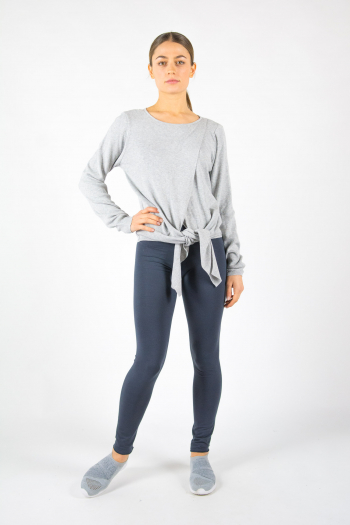 Pull cache-coeur en maille Repetto gris chiné W0672