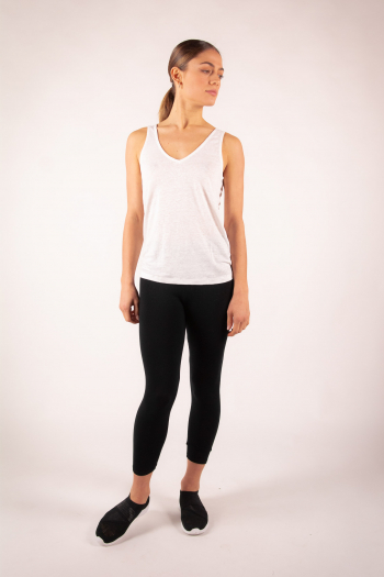 Tank top linen V Majestic Filatures white