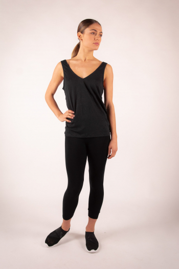 Tank top linen V Majestic Filatures black