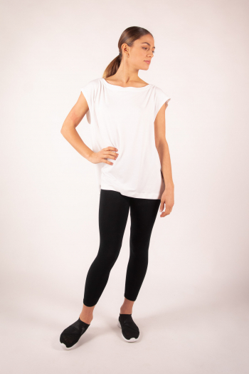 Majestic Filatures white short-sleeved top with boat collar