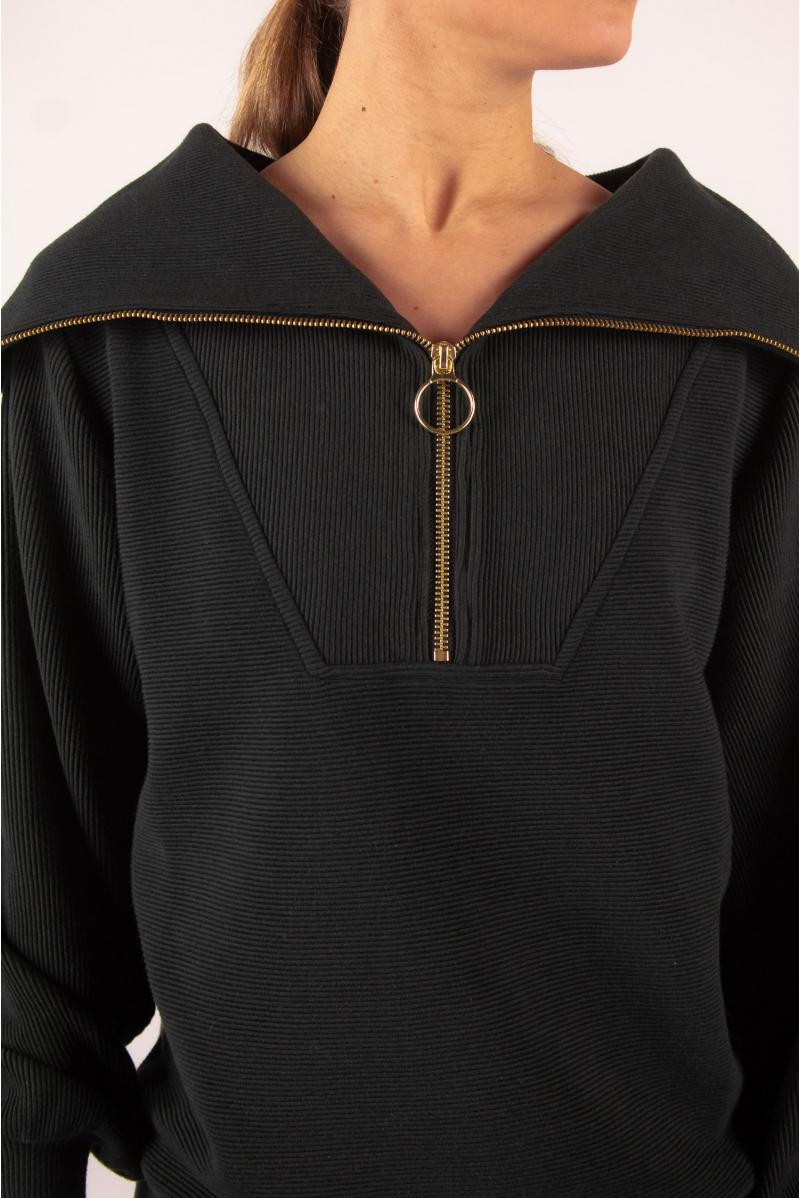 Wayne Sweatshirt Zipped Collar Varley Black