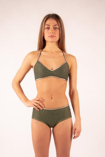 La Nouvelle brassiere Adèle khaki shiny swimsuit