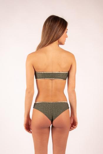 La Nouvelle tanga Inès khaki shiny swimsuit