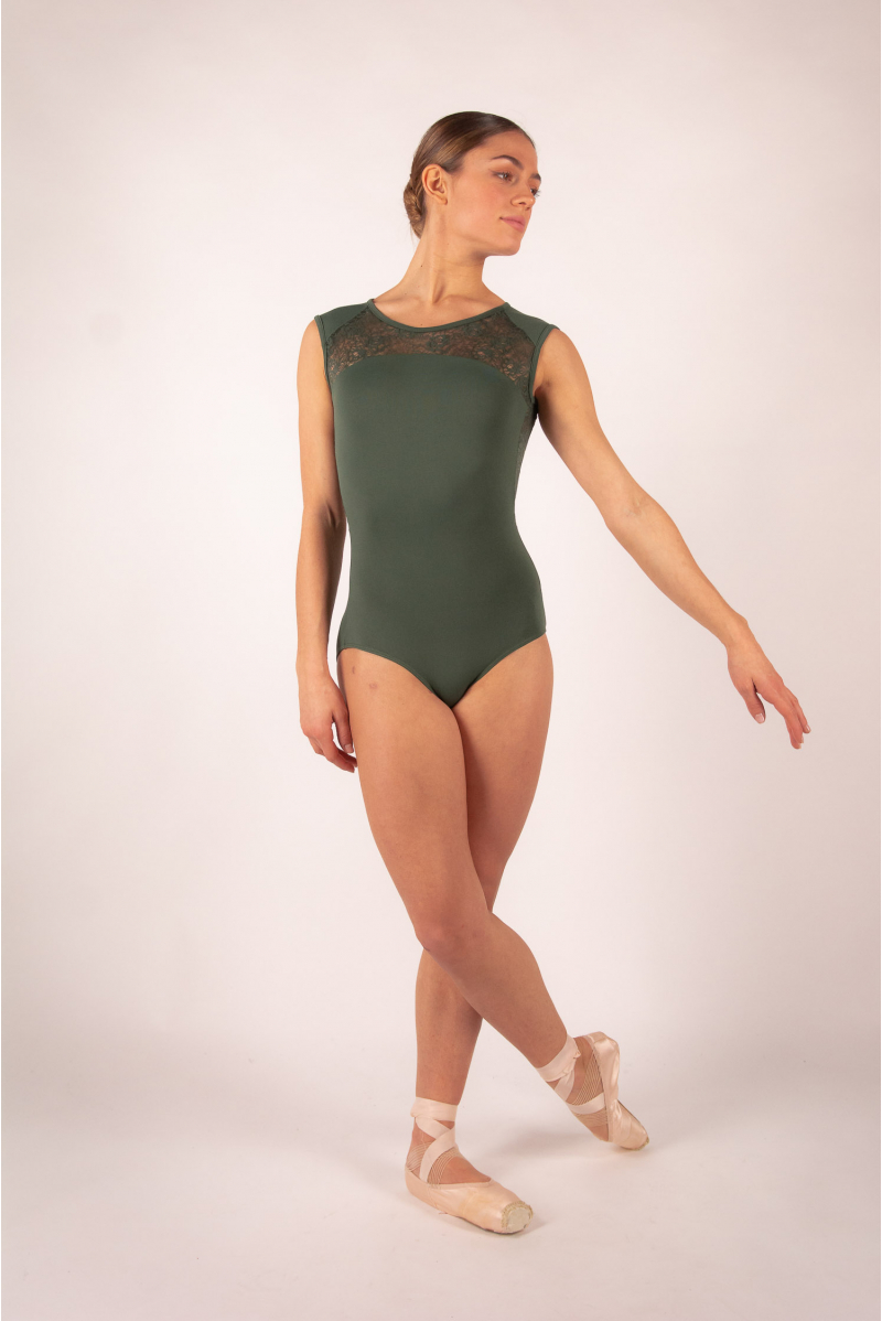 Ballet Rosa white lace women leotard