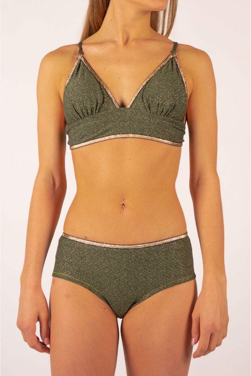 La Nouvelle top Ambre khaki shiny swimsuit