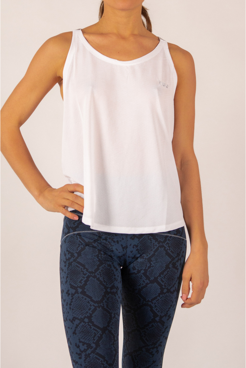 Yuj Leotee white and silver tank top